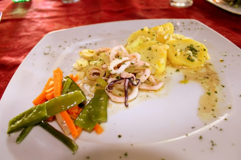 7. Calamari Leek Hot Salad